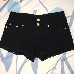 Black Mid Rise Denim Shorts